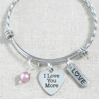 LOVE YOU MORE Bracelet, Daughter Birthday Gift Idea, Granddaughter Love You More Gift, Gifts for Girls, Heart Charm Bracelet for Her