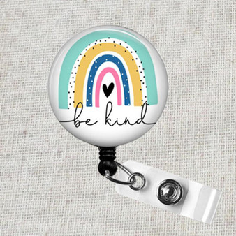BE KIND Rainbow Badge Reel, Neutral Boho Pastel Rainbow Retractable Badge Reel, Be Kind Teacher Name Badge Holder, Nurse Badge Reel, Be Kind