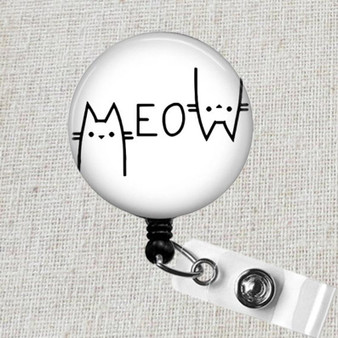 Funny CAT MEOW Badge Holder, Meow Retractable ID Badge Reel, Cat Mom Gift, Cat Lover Badge Reel Clip, Teacher Badge Reel, Nurse Badge Reel