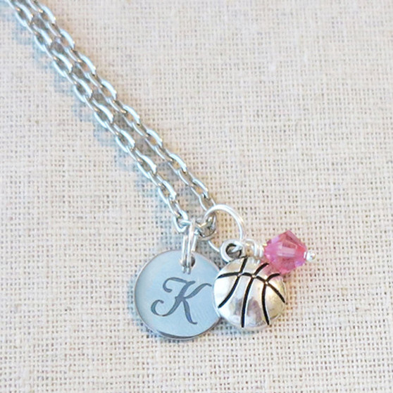 BASKETBALL Necklace - PERSONALIZED Varsity Basketball Team Gifts
