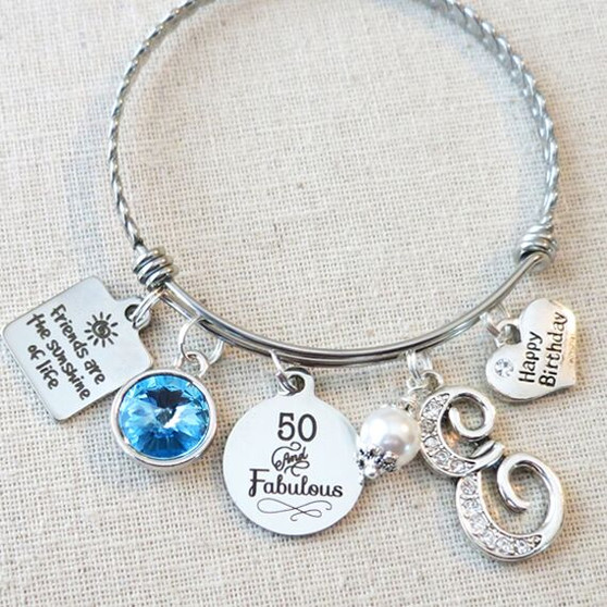 50 And Fabulous Birthstone Gift - Friends Are The Sunshine Of Life Birthday Bracelet