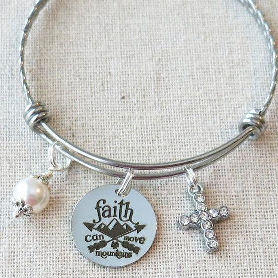 FAITH Can MOVE MOUNTAINS Bracelet, Faith Bracelet Gift, Inspirational Christian Jewelry, Encouraging Gifts for Her, Religious Cross Jewelry