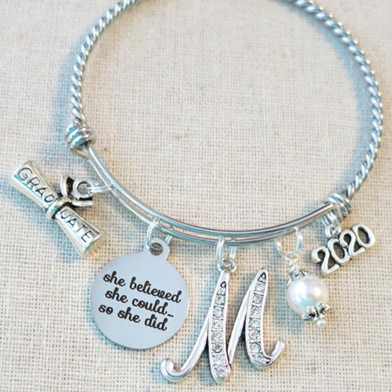 2021 GRADUATION Gift Bangle Bracelet - She Believed She Could So She Did Inspirational Gift for Graduate