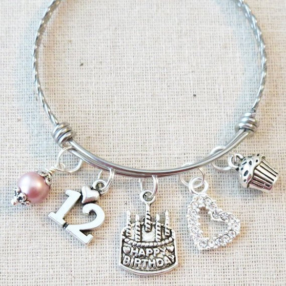 12th BIRTHDAY GIRL Gift - 12th Birthday Charm Bracelet