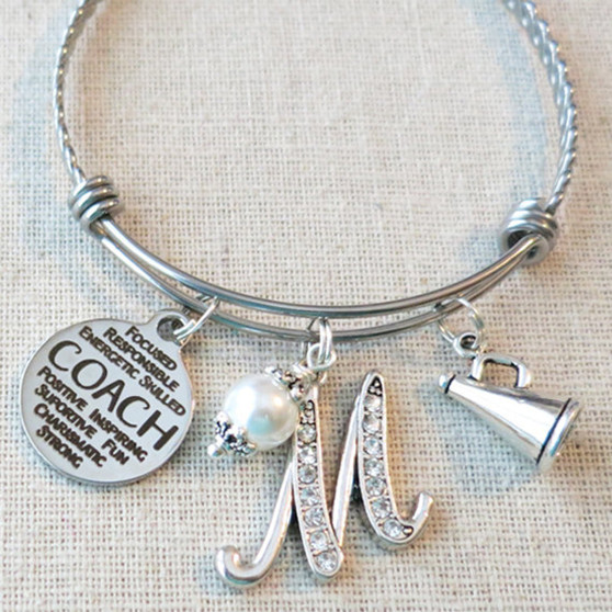 CHEER COACH Gift, Custom Cheer Coach Charm Bracelet, Coach Gifts from Cheer Team, Cheer Coach Thank You, Cheerleader Coach Appreciation Gift