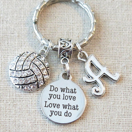 Personalized VOLLEYBALL Do What You Love - Love What You Do Keychain, SENIOR Night Volleyball Key Ring, CUSTOMIZED Volleyball Team Gifts