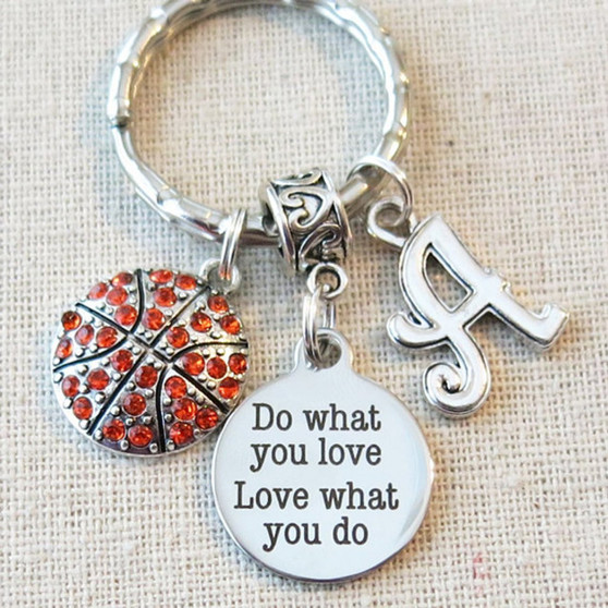 Personalized BASKETBALL Do What You Love - Love What You Do Keychain, SENIOR Night Basketball Key Ring, CUSTOMIZED Basketball Team Gifts