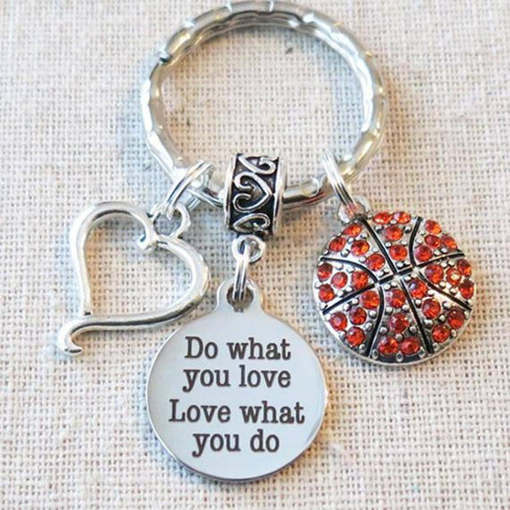 BASKETBALL Do What You Love - Love What You Do Keychain, SENIOR Night Basketball Key Ring, Basketball Team Gifts, Basketball Coach Gifts
