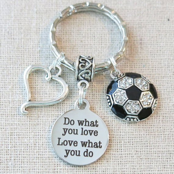 Personalized SOCCER Do What You Love - Love What You Do Keychain, SENIOR Night Varsity Soccer Key Ring, CUSTOMIZED Soccer Team Gifts