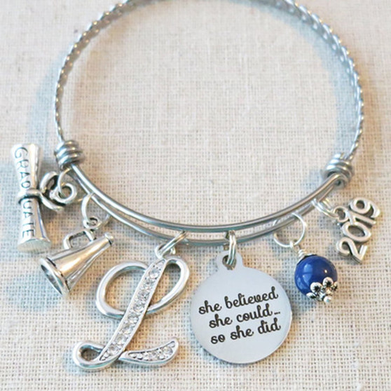 CHEER SENIOR GIFTS, Cheerleader Charm Bracelet, Cheerleading Megaphone Charm Bracelet, Cheer Graduation Senior Night Gift, Personalized Cheer Initial Bracelet
