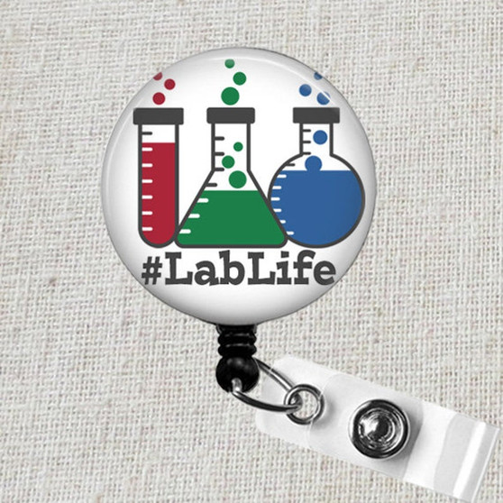 LABLIFE Medical Laboratory Science Badge Reel, #LabLife Lab Technician Scientist Badge Holder, Cute Lab Tech Badge Reel, MLS MLT Badge Gift