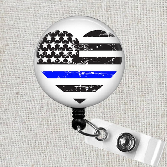 Thin BLUE LINE Badge Reel, Police Wife Retractable ID Badge Reel, Blue Lives Matter Badge Reel, Police Thin Blue Line Heart Badge Clip