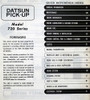 1981 Datsun Pick-up Diesel Service Manual Table of Contents