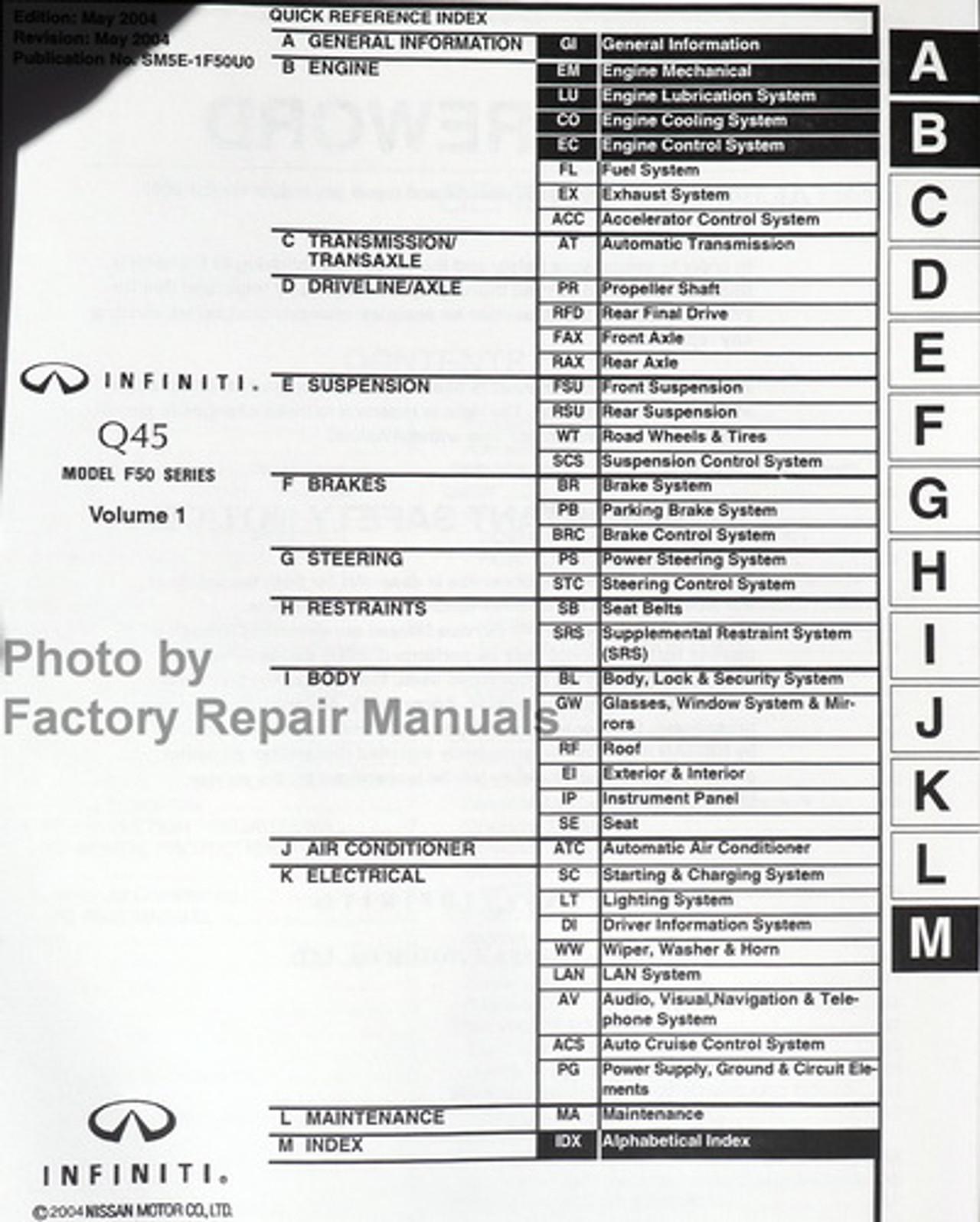 2005 Infiniti Q45 Factory Service Manual Set Original Shop