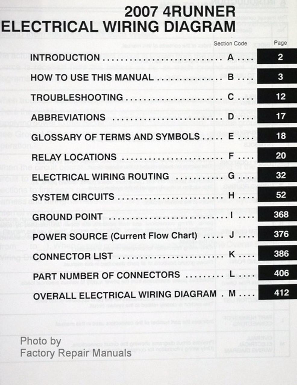 2007 Toyota 4runner Electrical Wiring Diagrams Original