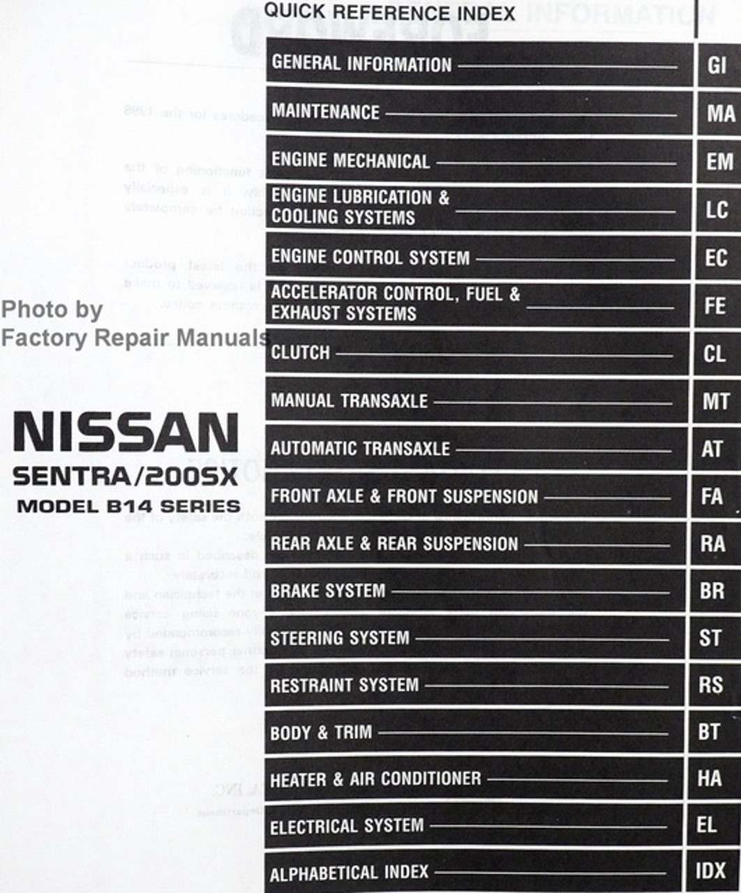 1998 Nissan Sentra 1.6L, 200SX 1.6L Factory Service Manual Original Shop  Repair - Factory Repair Manuals | 1998 Nissan Sentra Air Conditioner Wiring Diagram |  | Factory Repair Manuals