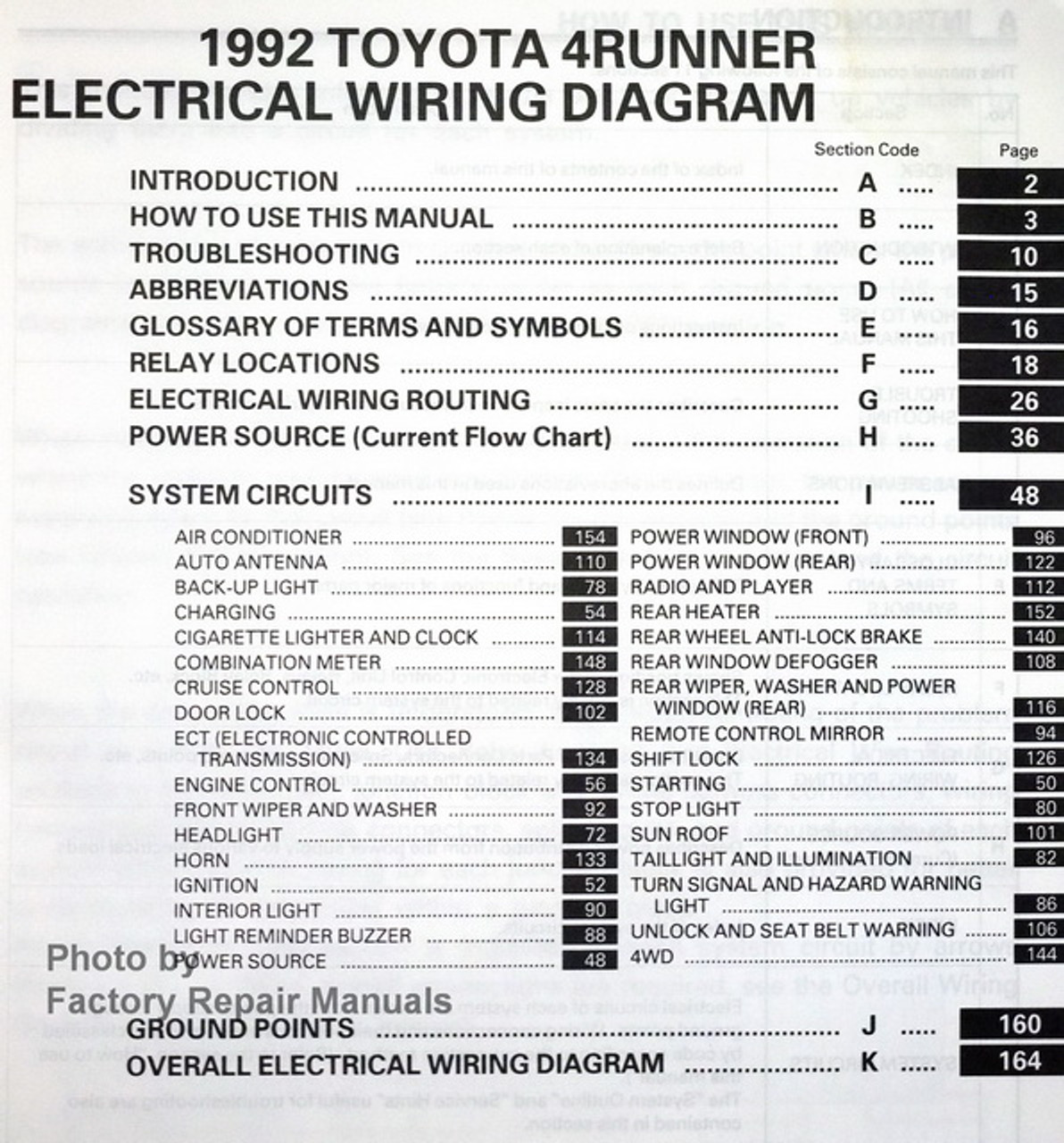 1992 Toyota 4runner Electrical Wiring Diagrams Original
