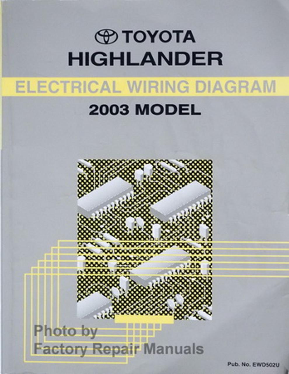 2003 Toyota Highlander Electrical Wiring Diagrams Original on