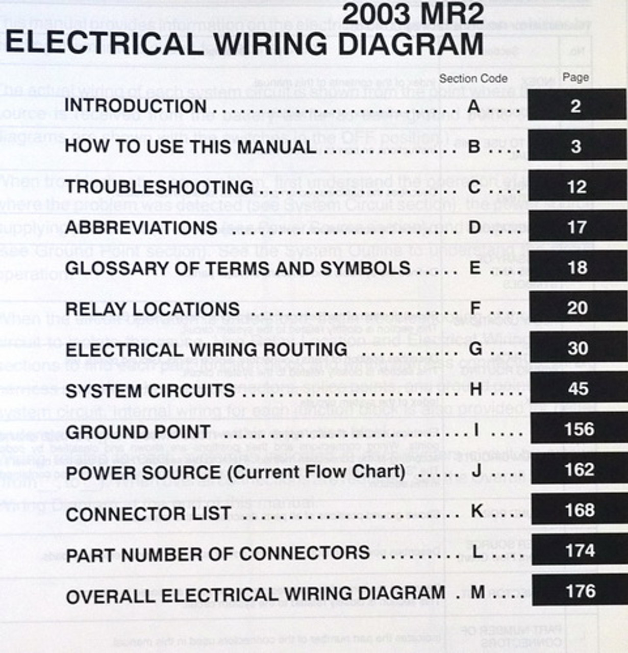 2003 Toyota Mr2 Spyder Electrical Wiring Diagrams Original