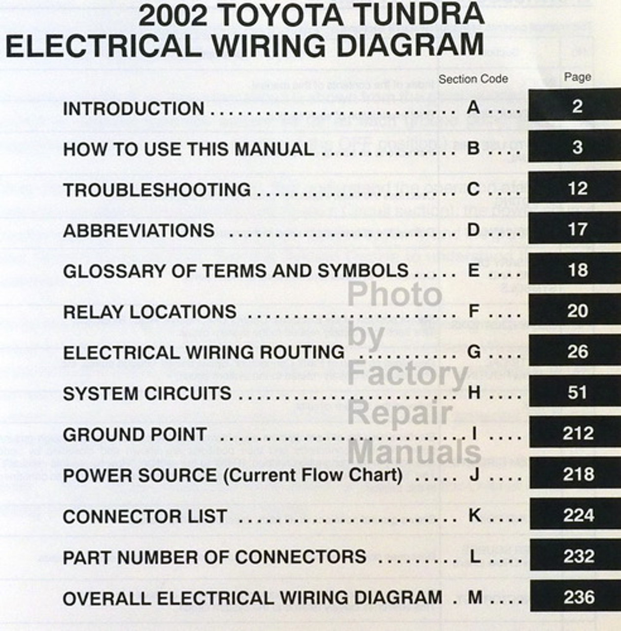 2002 Toyota Tundra Electrical Wiring Diagrams Original Factory Manual -  Factory Repair ManualsFactory Repair Manuals