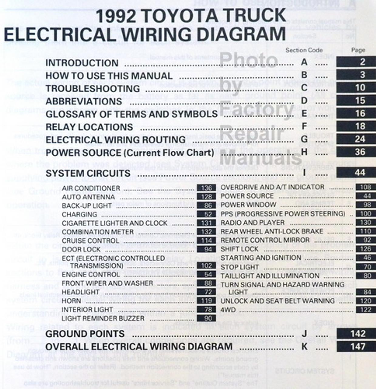 1992 Toyota Pickup Truck Electrical Wiring Diagrams Original - Factory  Repair Manuals | 92 Toyota Pickup Wiring Diagram |  | Factory Repair Manuals