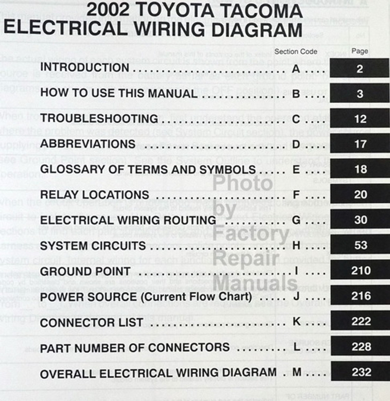 2002 toyota tacoma electrical wiring diagrams original manual - factory  repair manuals  factory repair manuals