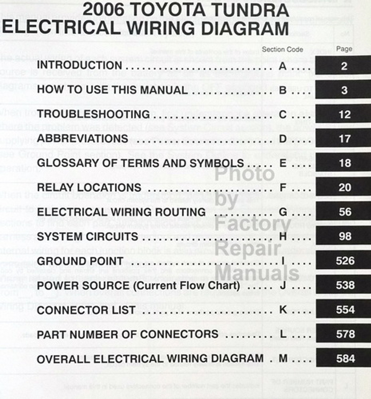 2006 toyota tundra electrical wiring diagrams original factory manual -  factory repair manuals  factory repair manuals