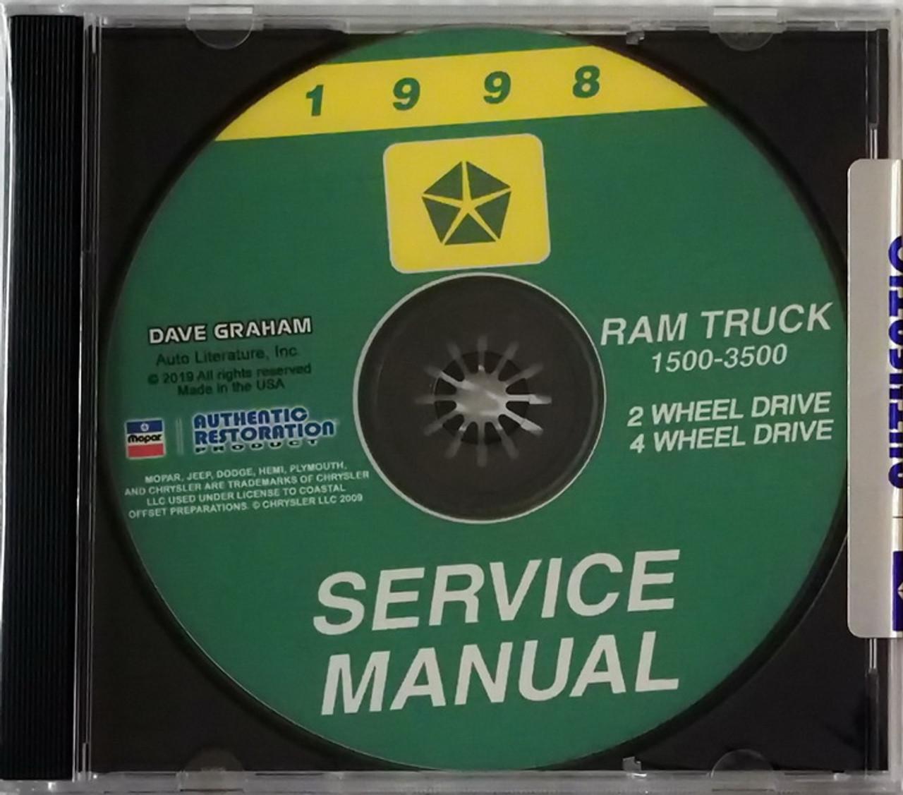 2003 Dodge Ram Truck Shop Manual on CD-ROM 1500 2500 3500 Pickup Repair Service