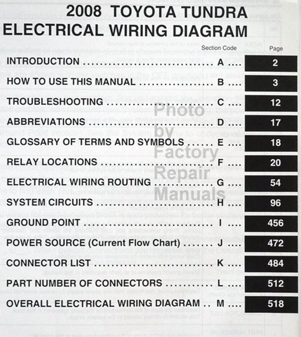 2008 Toyota Tundra Electrical Wiring Diagrams Original