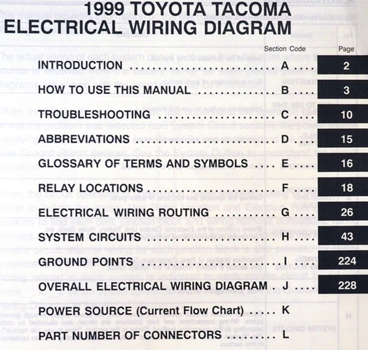 1999 Toyota Tacoma Electrical Wiring Diagrams Original Factory Manual -  Factory Repair Manuals   Wiring Diagram For 1999 Toyota Tacoma      Factory Repair Manuals