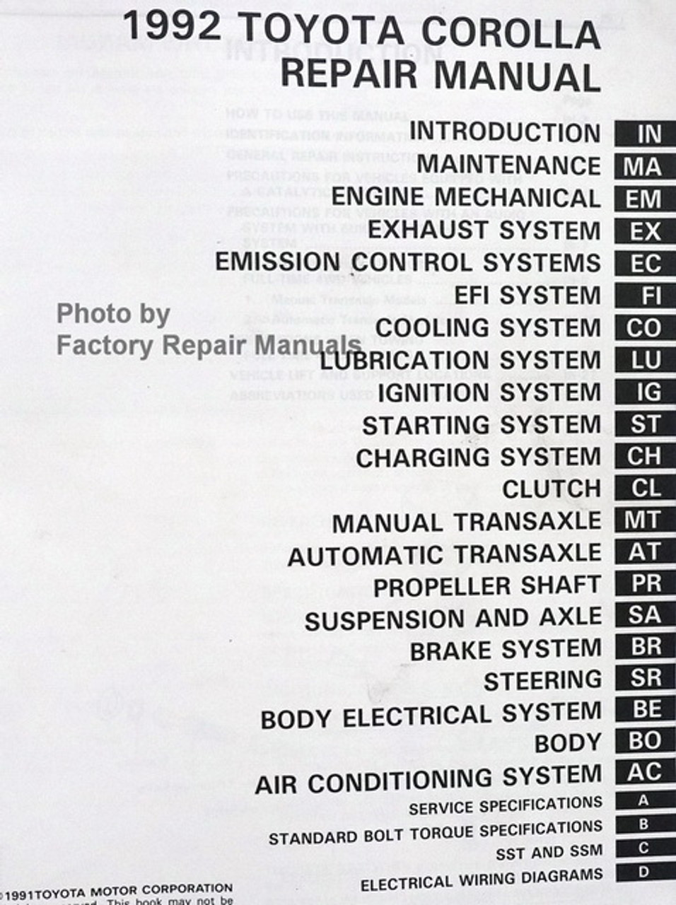 1992 Toyota Corolla Factory Service Manual Original Shop