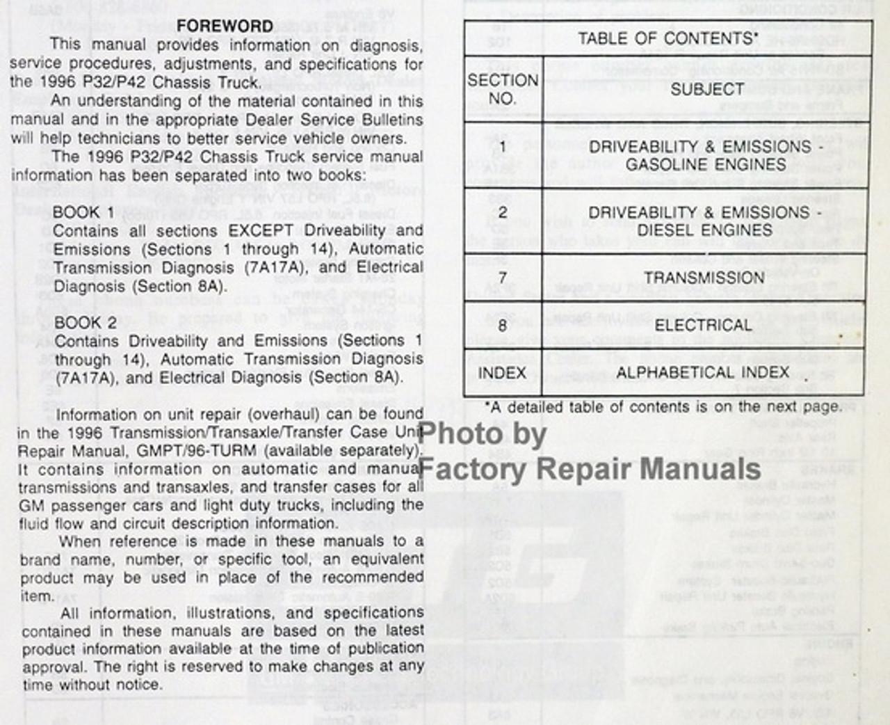 1996 Gmc Chevy P32 P42 P3 Motorhome Chassis Factory Service Repair Manual Set