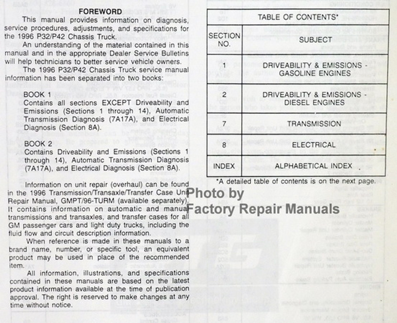 1996 GMC Chevy P32 P42 P3 Motorhome Chassis Factory Service Repair Manual  Set - Factory Repair Manuals | Chevrolet P 32 Motorhome Engine Diagram |  | Factory Repair Manuals