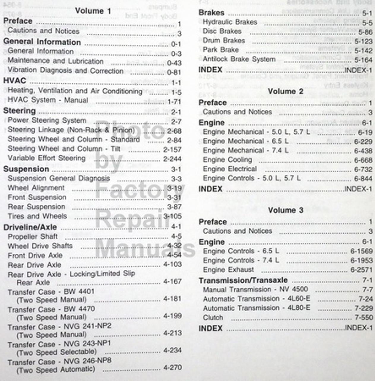 1999 Chevy GMC C/K Truck SUV Shop Service Manual Set 1500
