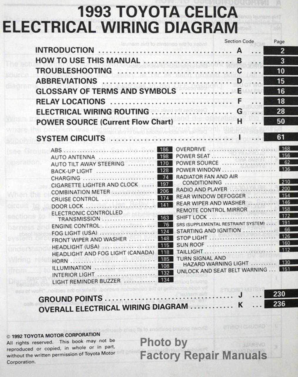 1993 Toyota Celica Electrical Wiring Diagrams - Original Shop Manual