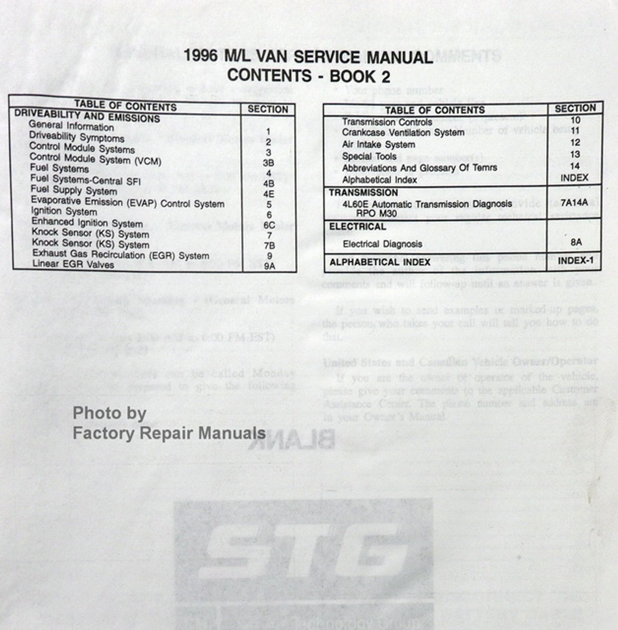 1996 Chevy Astro Van  Gmc Safari Factory Service Manual