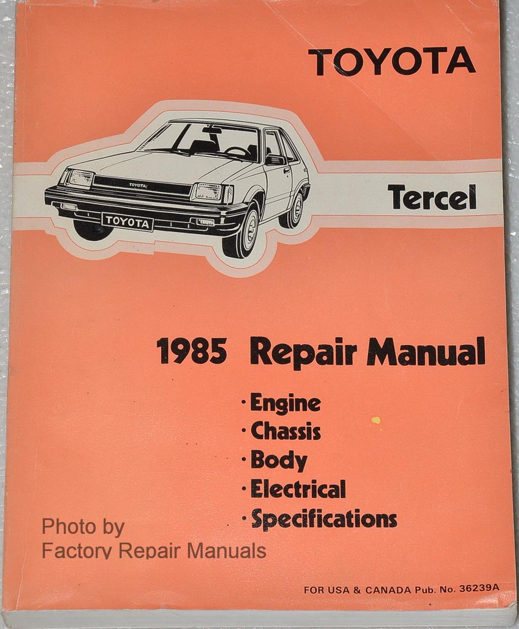 1985 Toyota Tercel Factory Service Manual Original Shop