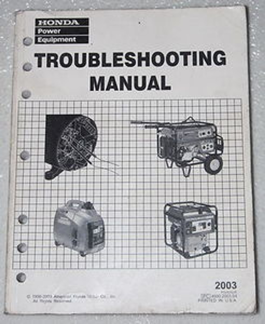 2003 HONDA GENERATOR Troubleshooting Manual 1000 2000 3000