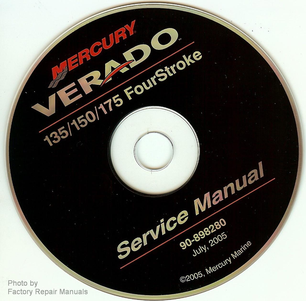 Mercury Verado 4 Stroke 135 150 175 Outboard Factory Shop Service Manual Cd Factory Repair Manuals