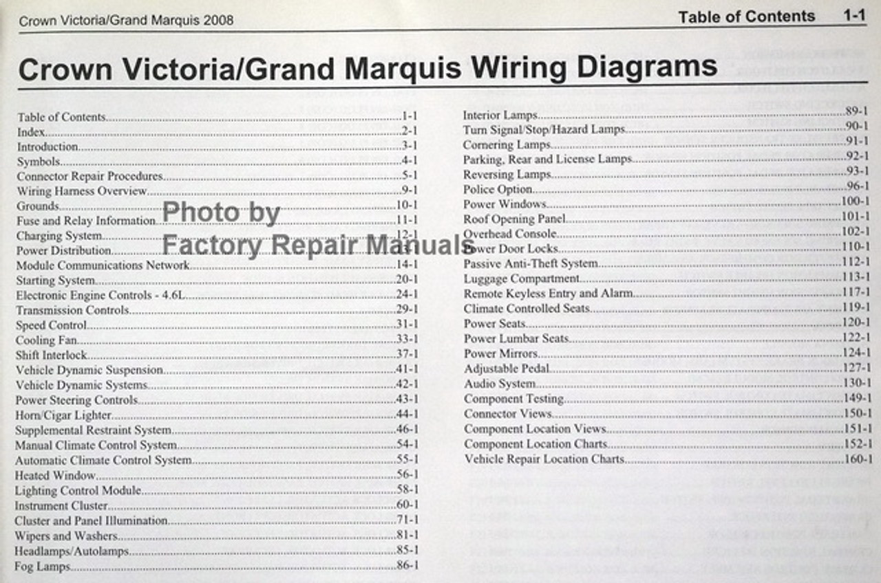 2008 Ford Crown Victoria Mercury Grand Marquis Electrical Wiring Diagrams