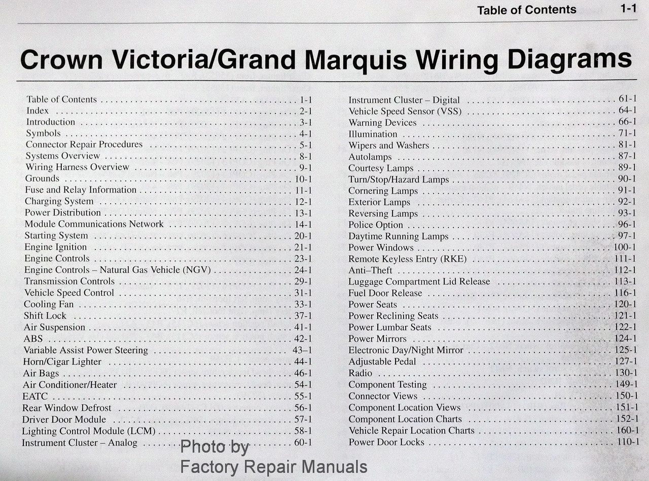 40 Ford Crown Victoria Mercury Grand Marquis Electrical Wiring Diagrams