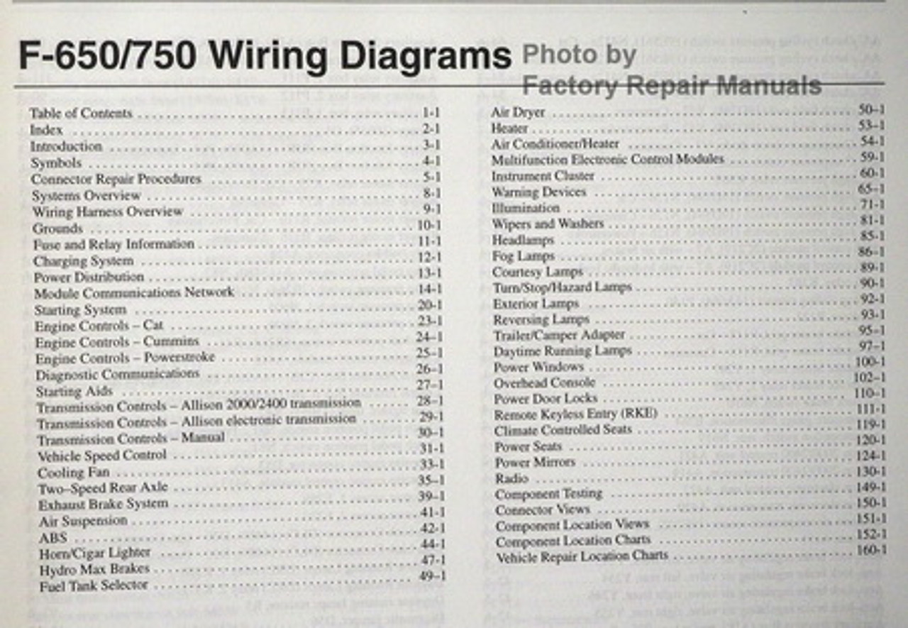 2003 Ford F650 F750 Medium Duty Truck Electrical Wiring Diagrams - Factory  Repair Manuals | Ford F650 2003 Wiring Diagram |  | Factory Repair Manuals
