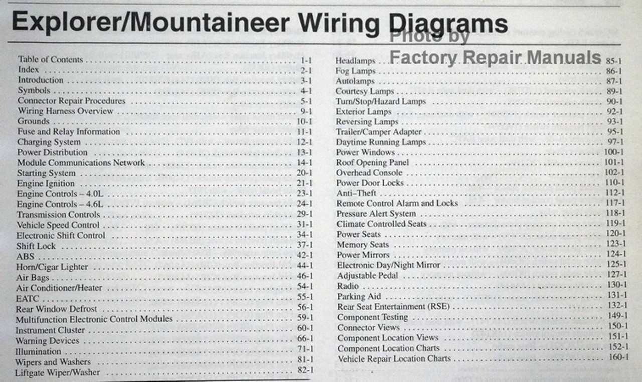 2004 Ford Explorer And Mercury Mountaineer Electrical Wiring Diagrams Manual
