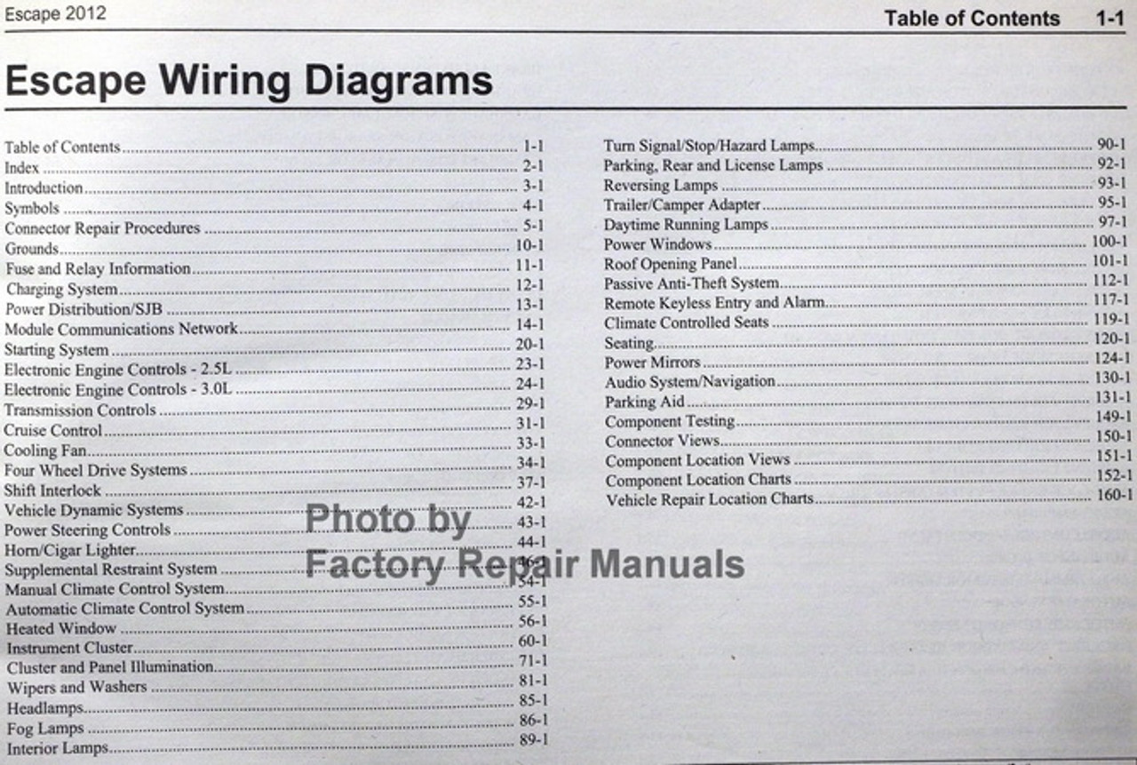 2012 Ford Escape Electrical Wiring Diagrams Manual - Gas Models