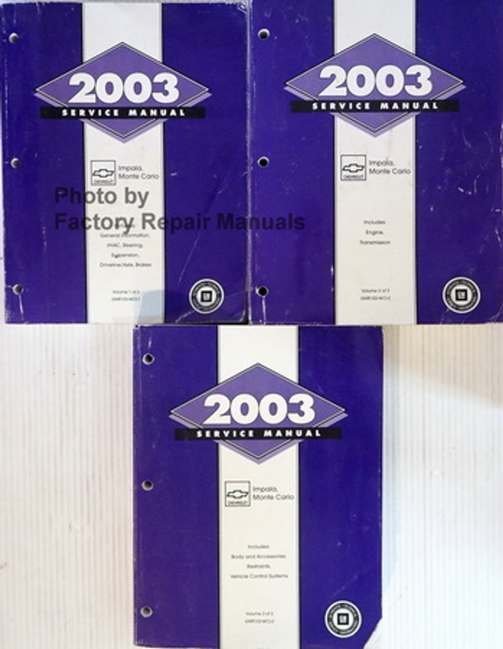 2003 Chevy Impala  Monte Carlo Factory Service Manual Set - Original Shop Repair