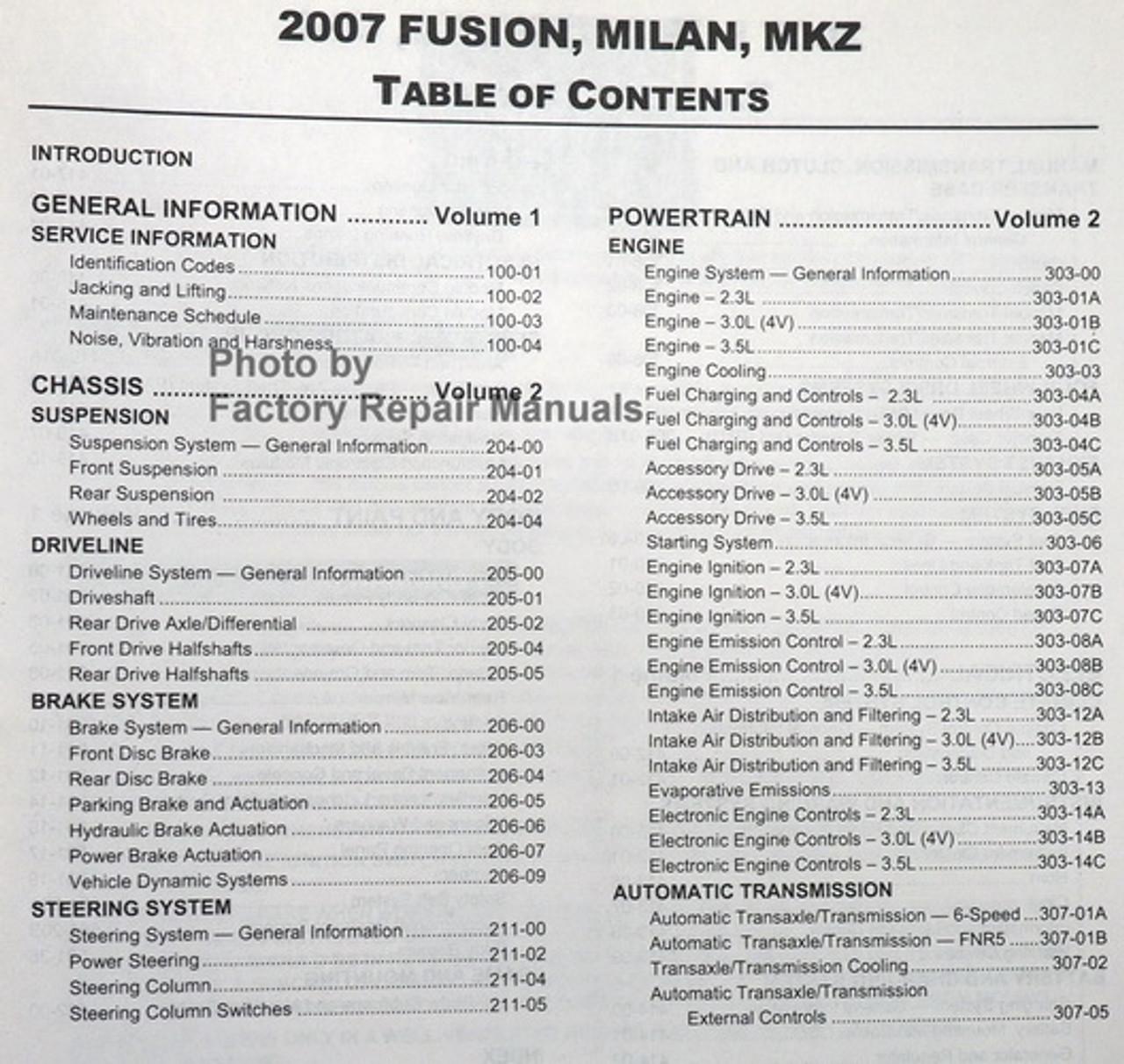 2007 Ford Fusion  Mercury Milan  Lincoln Mkz Factory Shop