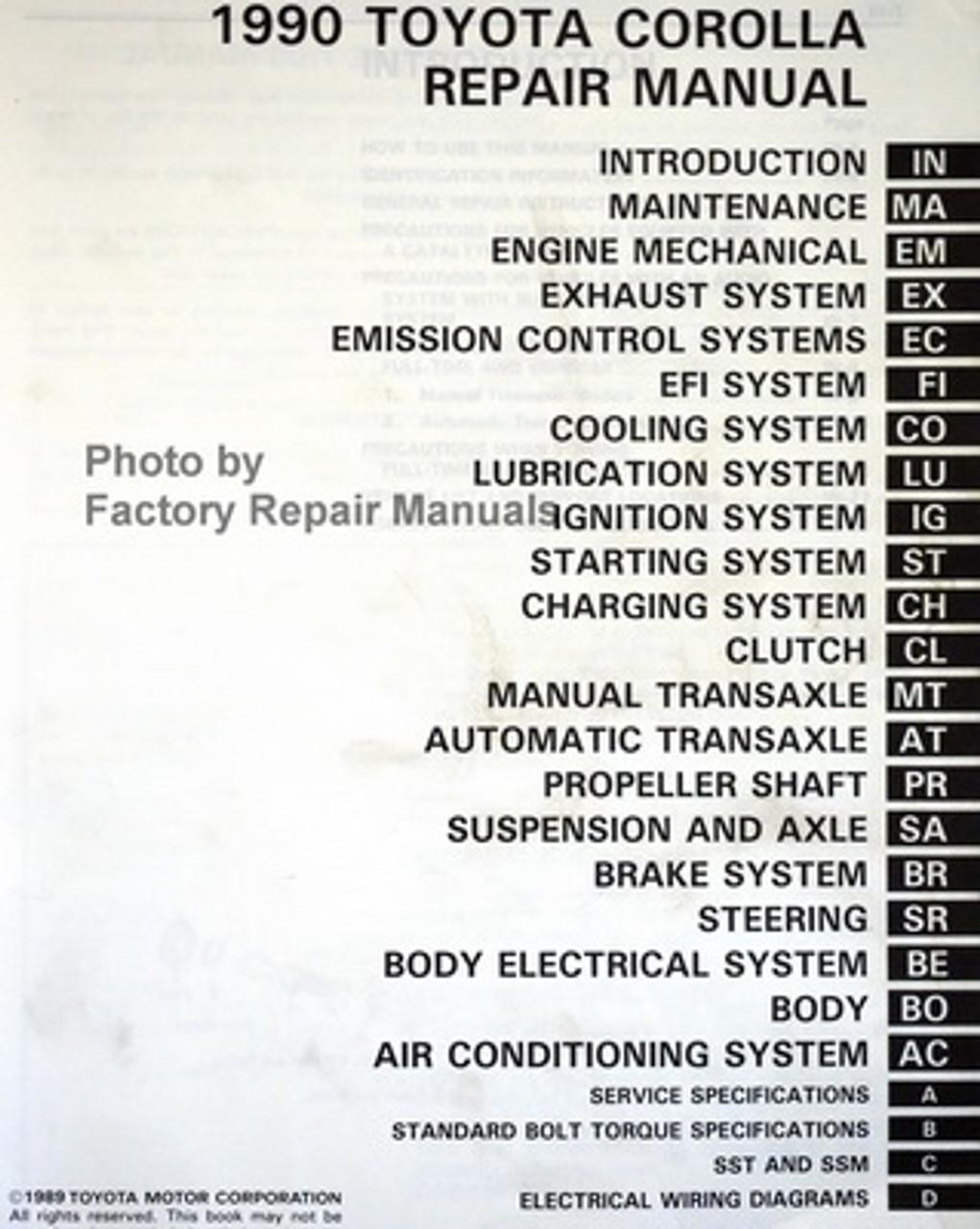 1990 toyota corolla factory service manual original shop repair - factory  repair manuals  factory repair manuals