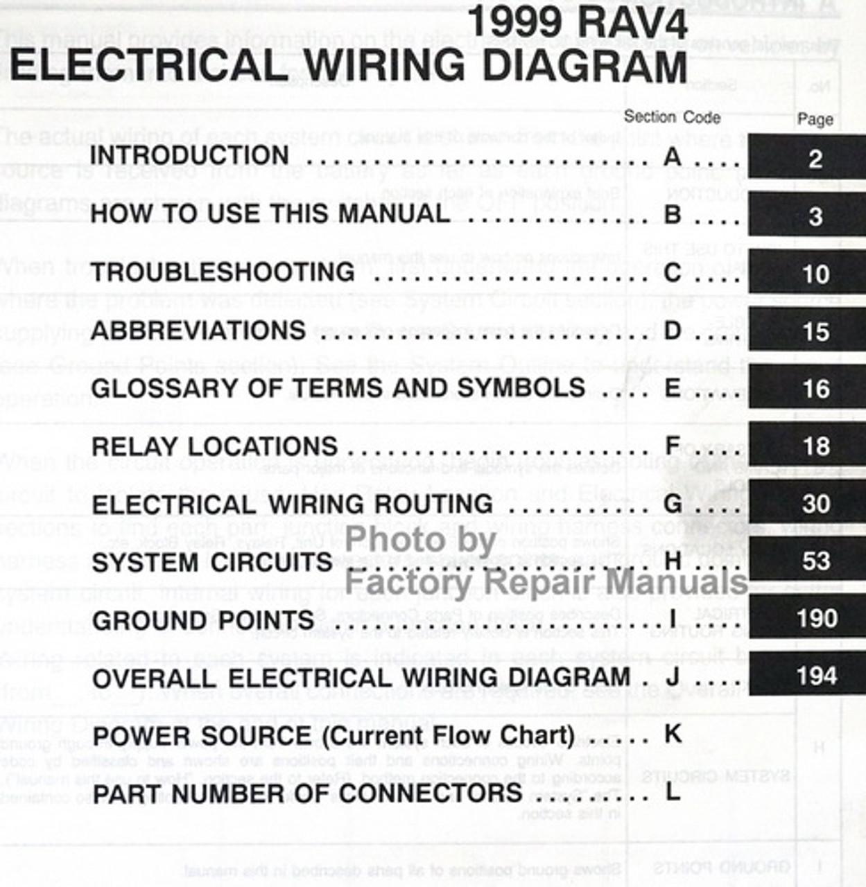 1999 Toyota Rav4 Electrical Wiring Diagrams Original Manual Factory Repair Manuals