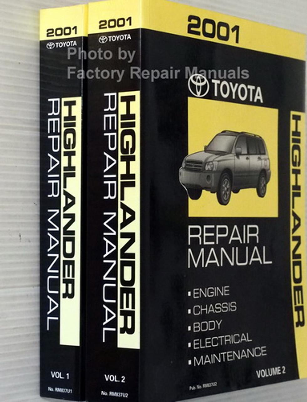 2002 Toyota Highlander Factory Service Manual Set Original Shop Repair Factory Repair Manuals