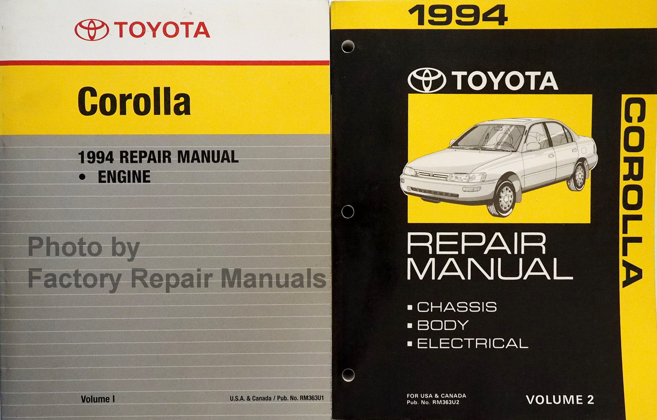 1994 toyota engine wiring diagram 1994 toyota corolla factory service manual set original shop  1994 toyota corolla factory service